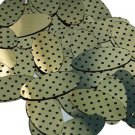 "Oval Sequin 1.5"" Black Polka Dot on Gold Metallic"