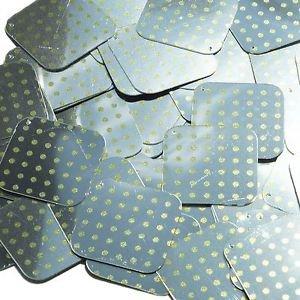 """Square Diamond Sequin 1.5"""" Yellow Polka Dot on Silver Metallic"""