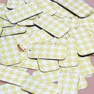 """Rectangle Sequin 1.5"""" Yellow Silver Houndstooth Pattern Metallic"""
