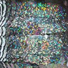 Galactic Black Hologram Reflective Sequin Trim 10mm flat strung. Made in USA.