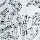 "Round Sequin 1.5"" Mozart Score Black White Opaque"