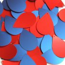 """Teardrop Sequin 1.5"""" Red Blue Matte Silk Frost"""