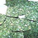 "Square Diamond Sequin 1.5"" Mistletoe Green White Leaves and Bud Metallic"