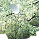 "Fishscale Fin Sequin 1.5"" Mistletoe Green White Leaves and Bud Metallic"