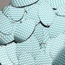 "Oval Sequin 1.5"" Aqua Blue Silver Chevron Zig Zag Pattern Metallic"