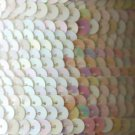 SEQUIN STRING TRIM~  WHITE Opaque RAINBOW ~ 6mm FLAT strung by yard  Made in USA