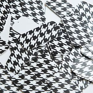 "Rectangle Sequin 1.5"" Black White Houndstooth Pattern Opaque"
