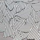 """Fishscale Fin Sequin 1.5"""" Black Silver Chevron Zig Zag Pattern Metallic"""