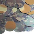 30mm Sequins Camo Brown Green Camouflage Gold Metallic