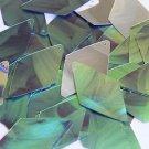 "Long Diamond Sequin 1.75"" Green Leaf Hosta Silver Metallic"