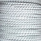Opaque White 5mm cup Sequin Trim Flat Stitched Strung by the yard 15'