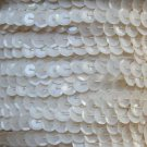 Sequin Trim ~ Opaque Ivory Bone ~ 8mm Cup Facet strung by the yard. Made in USA.