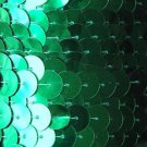 Green Metallic Large Sequin Trim 10mm flat strung by the yard. Made in USA.