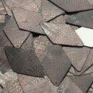 "Long Diamond Sequin 1.75"" Deep Brown Distressed Crocodile Print Metallic"
