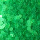 5mm Flat SEQUIN PAILLETTES ~ GREEN FLUORESCENT Neon Transparent  ~ Made in USA.