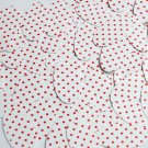 """Oval Sequin 1.5"""" Red Polka Dot on White Opaque"""