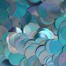 20mm ROUND SEQUIN PAILLETTE ~ AQUA Blue Metallic Iris Rainbow ~ Made in USA