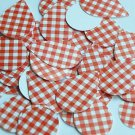 "Teardrop Sequin 1.5"" Red White Gingham Plaid Checker Pattern Opaque"