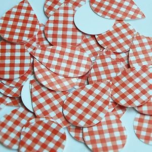 """Teardrop Sequin 1.5"""" Red White Gingham Plaid Checker Pattern Opaque"""