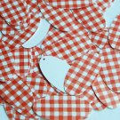 "Oval Sequin 1.5"" Red White Gingham Plaid Checker Pattern Opaque"