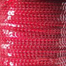 Sequin Stitched Trim 4mm ~ Ruby Red Transparent See-Thru ~ Made in USA