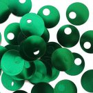 Large Hole SEQUIN PAILLETTES ~  Green Shiny Metallic~ 20mm round ~ Made in USA