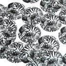 """Round Sequin 1.5"""" Tiger by Marz Black and White Art Opaque"""