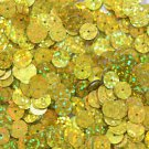 8mm Flat SEQUIN Loose PAILLETTES ~ YELLOW Laser MULTI  HOLOGRAM ~ Round Disc