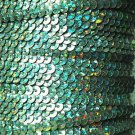 Sequin Stitched Trim 4mm ~ Green Hologram Multi Reflective Rainbow Metallic