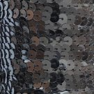 "Hematite Shiny Gray Sequin Trim 6mm 1/4"" wide stitched, strung by the yard 15'"