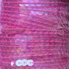 "Crystal Pink Iris Sequin Trim 6mm 1/4"" wide stitched, strung by the yard 15'"