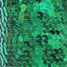 "Emerald Green Sequin Trim 6mm 1/4"" wide stitched, strung by the yard 15'"