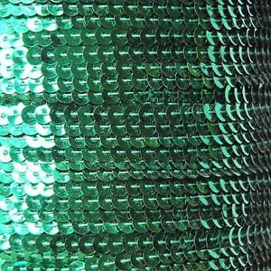 Sequin Stitched Trim 4mm ~ Green Shiny Metallic  ~ Made in USA
