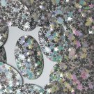 """Silver Stardust Reflective Metallic Sequins Oval 2"""" Large Couture Paillettes"""