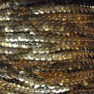 Gold Shiny Metallic 5mm cup Sequin Trim Flat Stitched Strung by the yard 15'
