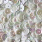 8mm Cup SEQUIN FACET PAILLETTES ~  WHITE RAINBOW IRIS IRIDESCENT~ Made in USA