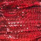 Red Metallic 5mm cup Sequin Trim Flat Stitched Strung by the yard 15'