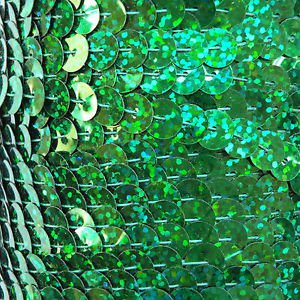 Sequin Trim Green Hologram Reflective 8mm flat strung by the yard. Made in USA.