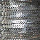 Sequin Stitched Trim 4mm ~ Semi Matte Silver See-Thru ~ Made in USA