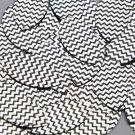 "Navette Leaf Sequin 1.5"" Black Silver Chevron Zig Zag Pattern Metallic"