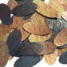 """Sequin Bronze Gold Iris Brown Oval 1.5"""" Tooled Leather Effect Couture Paillette"""