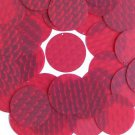 3D Red Round Sequin 1.5 inch Dimensional Reflector Paillettes. Made in USA.