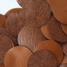 30mm ROUND SEQUIN PAILLETTES ~ SADDLE BROWN LEATHER Effect Disc ~  Made in USA
