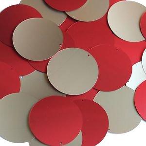 """Round Sequin 1.5"""" Red Gold Matte Silk Frost Matte Silk Frost"""
