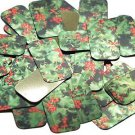 """Rectangle Sequin 1.5"""" Holly Leaves and Berries Green Leaf Red Berry Metallic"""