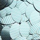 "Navette Leaf Sequin 1.5"" Aqua Blue Silver Chevron Zig Zag Pattern Metallic"