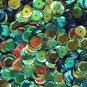 8mm Cup SEQUIN FACET Loose PAILLETTES~ GREEN Jungle Premium Rainbow Metallic