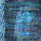 "Deep Aqua Rainbow Iris Sequin Trim 6mm 1/4"" wide stitched Strung by yard 15'"
