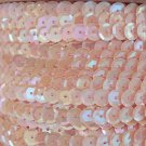 Sequin Trim Pink Blush Rainbow 8mm Cup Facet strung by the yard. Made in USA.