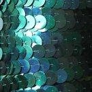 Aqua Blue Iris Rainbow Metallic Sequin Trim 10mm flat strung. Made in USA.